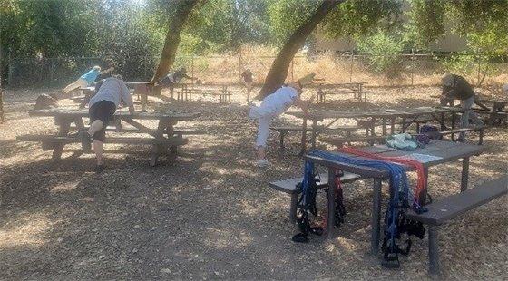 Senior Citizens exercising.