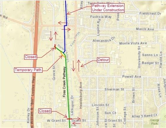 Foss Creek Pathway Detour Map