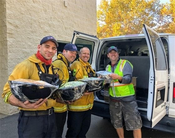Providing food to firefighters