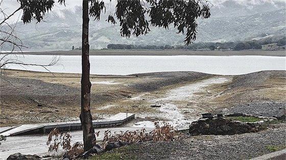 Lake showing low water level