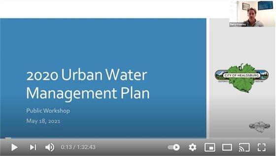 Screenshot of Zoom meeting on the 2020 urban water management plan