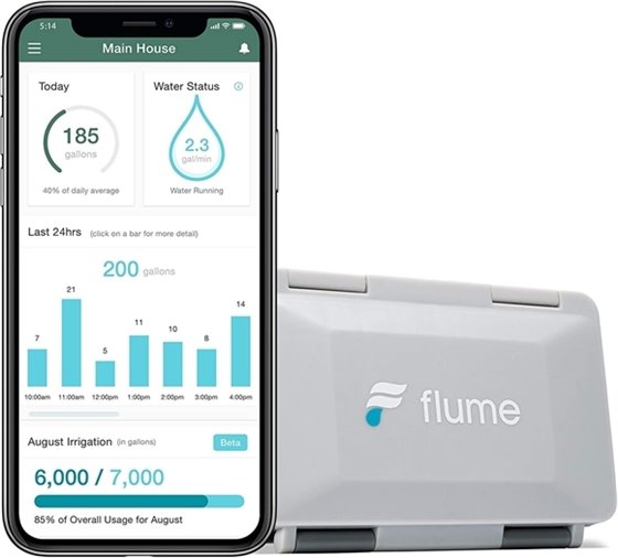 An image of a flume device with an app