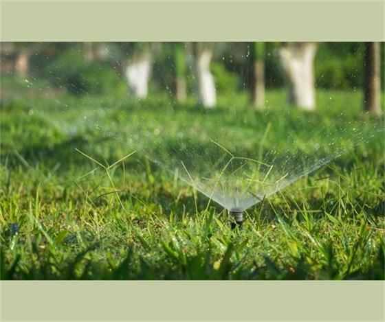 Sprinklers on grass