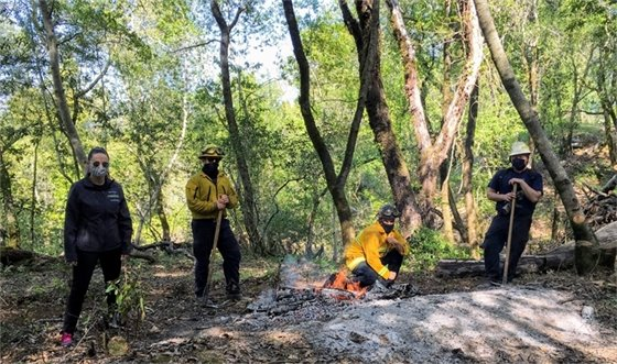 Firefighters on Fitch Mountain Open Space Preserve