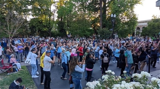 A large group of people listening to music in a park