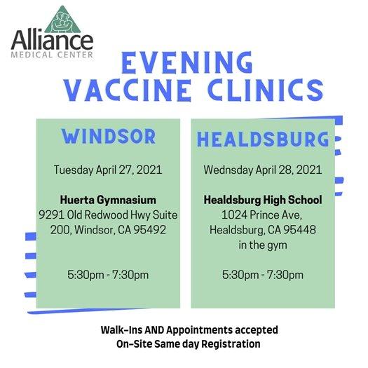 Evening COVID-19 vaccine clinics