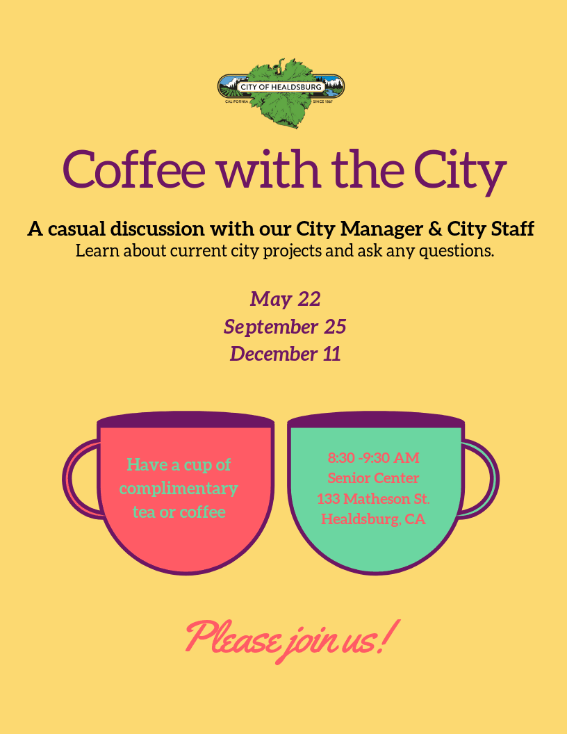 Flyer for Coffee with the City with dates
