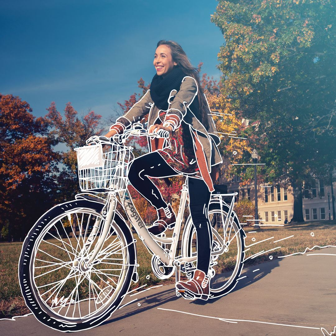 Photo of woman on bikeshare bicycle
