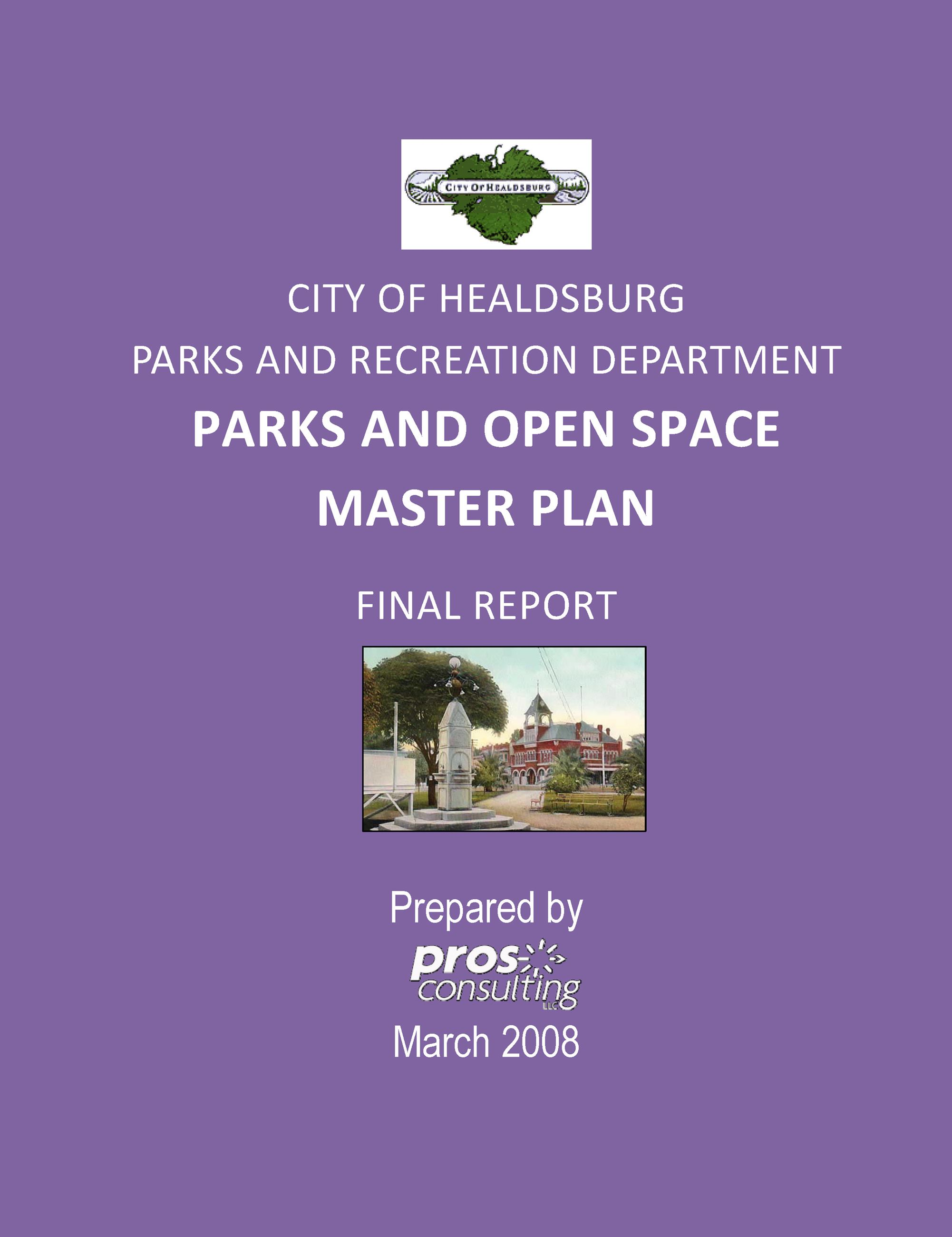 Parks and Open Space Plan 2008 Cover