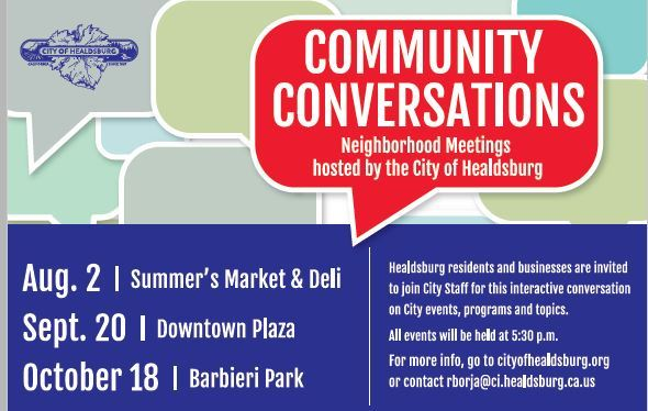 Image of dates and locations of 2018 Community Conversations events