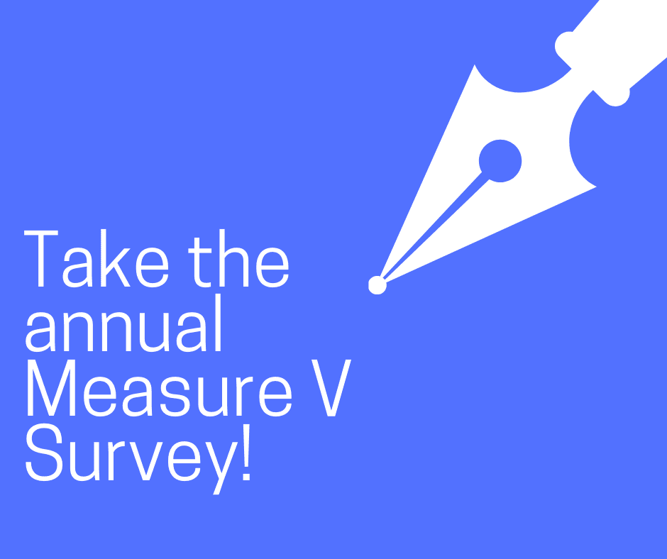 Image of Pen and Text: Take the Measure V Survey