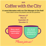Image of two coffee cups to promote the 2019 Coffee with the City series